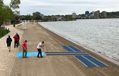 Mobi Mats laid down at Centennial Beach for better accessibility